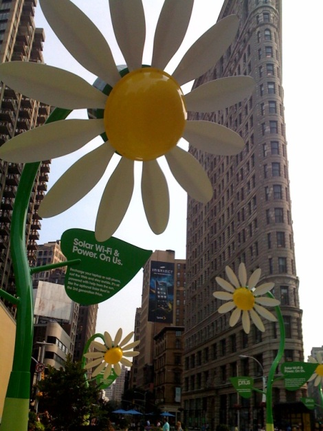"""We love that you can recharge your phone or connect to Wi-fi with these solar powered """"wildflowers."""""""
