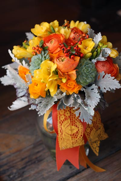 Orange Bouquet with Vintage Ribbon